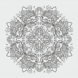 Stock Vector: Ornamental round gray snowflake. lace pattern.