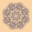 Ornamental round gray snowflake. lace pattern. — Stockvector