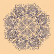 Ornamental round gray snowflake. lace pattern. — Vector de stock