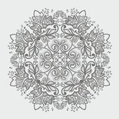 Ornamental round gray snowflake. lace pattern. — Stock Vector