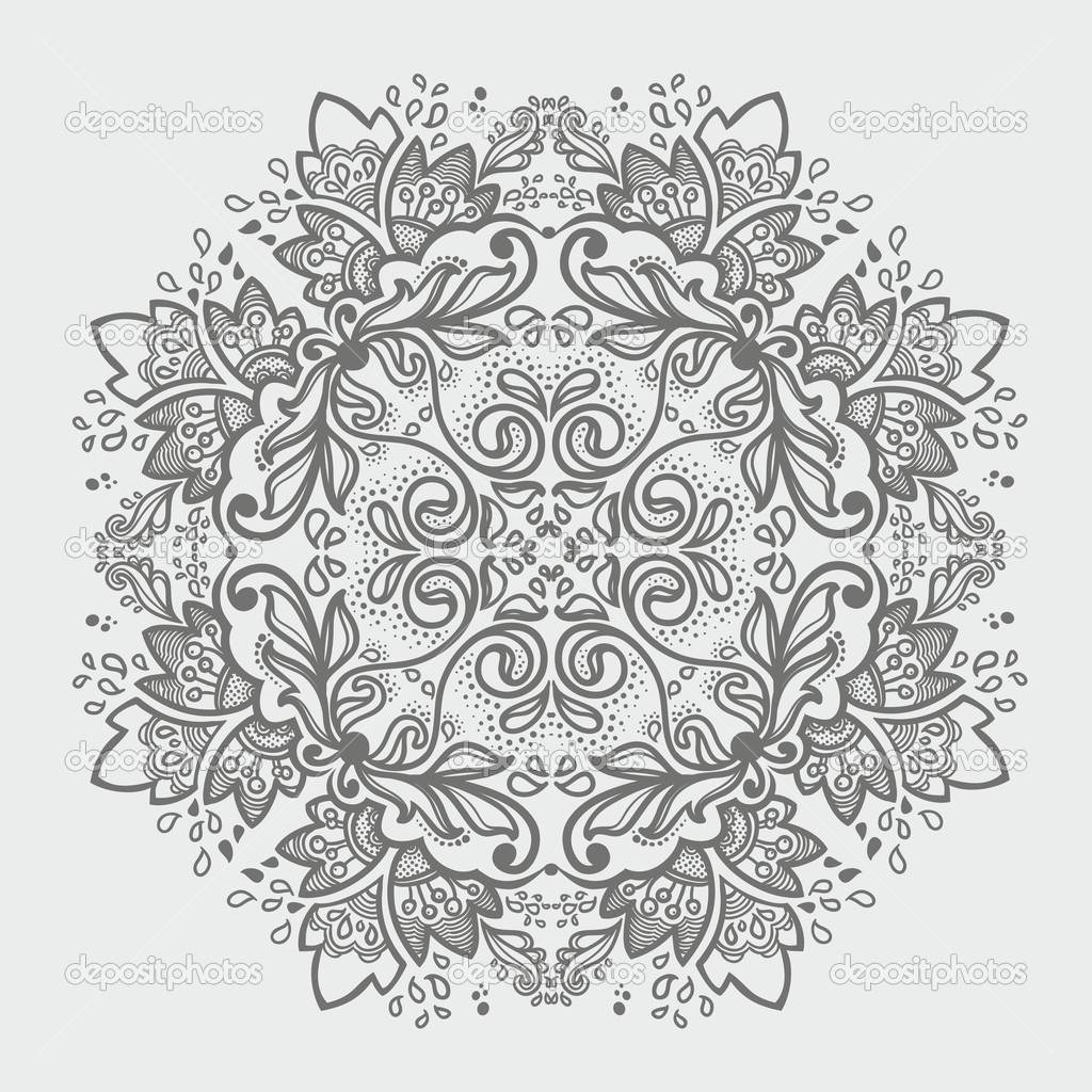 Ornamental round snowflake. lace pattern. gray  winter colors — ベクター素材ストック #13376722