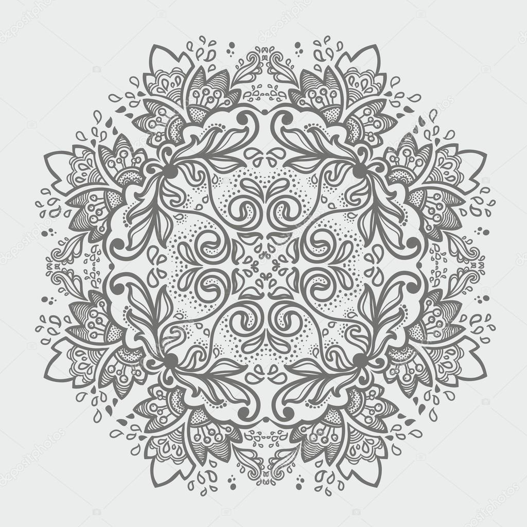 Ornamental round snowflake. lace pattern. gray  winter colors — Imagen vectorial #13376722