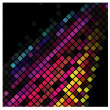 Stock Vector: Bright disco background with colored squares. Vector Graphics