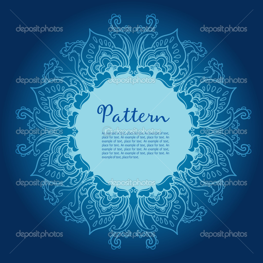 Ornamental round snowflake. lace pattern. cold winter colors — Stock Vector #13544528