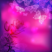 Butterflies floral vector valentine background — Stock Photo