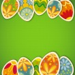 Royalty-Free Stock Imagem Vetorial: Happy Easter card template, colored eggs and polka dot pattern