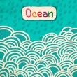 Blue Wave ocean cartoon retro background — Stock Photo