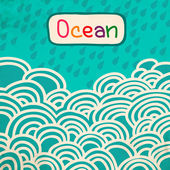 Blue Wave ocean cartoon retro background — Stock Photo