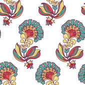 Ornamental floral summer seamless background with many details — Stok Vektör
