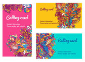 Colorful Business Cards template. vector floral business card set — Stock Vector