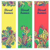 Ornamental round lace pattern. Ornamental floral lace pattern banner set. floral pattern — Stock Vector