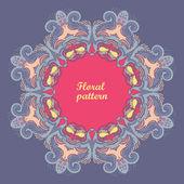 Dekorative floral lochmuster. kaleidoskopischen blümchenmuster. grußkarte — Stockvektor