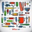 Stock Vector: Business office set, vector. school and office illustration