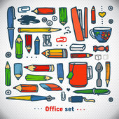 Business office set, vector. school and office illustration — Stock Vector
