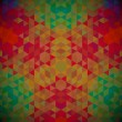 Kaleidoscope geometric dark pattern. Abstract retro vector background. Greeting card — ストックベクタ