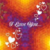 Kaleidoscope geometric dark pattern. Abstract love vector background. Greeting card — Stock Vector