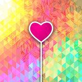 Abstract optic effect colorful polygonal heart shape. Triangle and floral patterns — Stock Vector