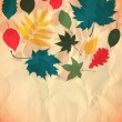 Paper autumn leaves background in retro colors. — Stock Photo