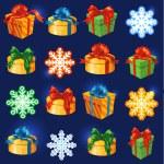 Vector gift box set with bows and ribbons. Snowflakes and stars — Stock Vector