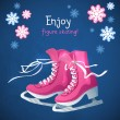 Retro Christmas card with ice skates — Stock Vector