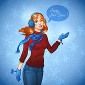 Merry Christmas vector illustration of pretty young girl with snowflakes. — Stock vektor