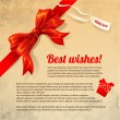 Beautiful card with red gift bow.Vector illustration. — Stok Vektör