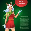 Cтоковый вектор: Merry Christmas vector illustration of reindeer girl with snowflakes