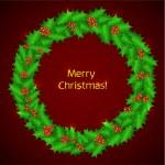 Christmas holly wreath. Vector christmas decoration - holly wrea — Stock Vector #35404547