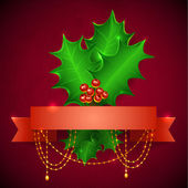 Christmas Holly Berry With Gradient Mesh, Vector Illustration. c — Stock Vector