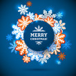 Snowflake winter blue background, christmas paper pattern. — Stockvektor