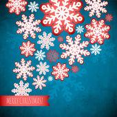 Fondo azul Invierno copo de nieve, patrón de papel Navidad. — Vector de stock