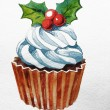 Christmas cupcake with holly berry. Raster Watercolor illustration. Traditional yummy Christmas dessert. Christmas vintage retro food — Stock Photo #36089889