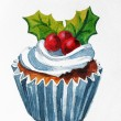 Christmas cupcake with holly berry. Vector Watercolor illustration. Traditional yummy Christmas dessert. Christmas vintage retro food — Stock Photo #36089891