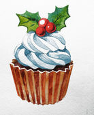 Christmas cupcake with holly berry. Raster Watercolor illustration. Traditional yummy Christmas dessert. Christmas vintage retro food — Stock Photo