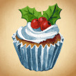 Christmas cupcake with holly berry. Vector Watercolor illustration. Traditional yummy Christmas dessert. Christmas vintage retro food — Stock Vector #36090129