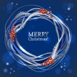 Christmas ribbon wreath with berries. Vector decoration on blue background. Dotted line, sun and star — Stock Vector
