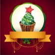 Cupcake with Christmas tree. Vector Watercolor illustration. Traditional yummy Christmas dessert. — Stock Vector #36237829