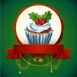 Cupcake with holly berry. Vector Watercolor illustration. Traditional yummy Christmas dessert. — Stock Vector #36237831