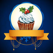 Cupcake with holly berry. Vector Watercolor illustration. Traditional yummy Christmas dessert. — Stock Vector
