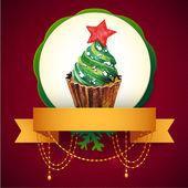 Cupcake with Christmas tree. Vector Watercolor illustration. Traditional yummy Christmas dessert. — Stock Vector