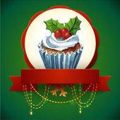 ヒイラギの果実とケーキ。ベクトルの水彩画のイラスト。伝統的なおいしいクリスマス デザート. — ストックベクタ