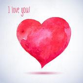 акварель красный окрашены сердце, элемент вектора синхронизации для вашего дизайна — Cтоковый вектор