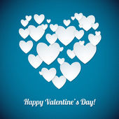 White Heart Paper Stickers Valentine's day. Happy Valentine's day! — Διανυσματικό Αρχείο
