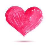 Acuarela corazón rojo pintado, elemento de vector para su diseño — Vector de stock
