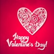 Happy Valentine's Day! Valentine's day lacy hearts vector greeting card. Heart with shadow. — Stock Vector