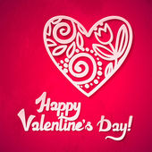 Heureuse saint valentin ! valentin coeurs dentelles vecteur carte de voeux. coeur avec shadow. — Vecteur