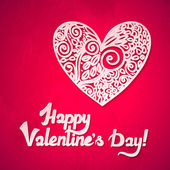 Happy Valentine's Day! Valentine's day lacy hearts vector greeting card. Heart with shadow. — Wektor stockowy