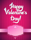 Happy Valentine's Day Card and Pink Background. Happy Valentines day card with trendy elegant script type — Stock Vector