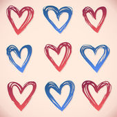 Brushstroke hearts. Set of grunge vector and ink strokes — Stock Vector