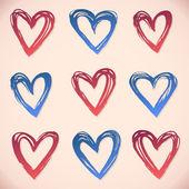 Penseldrag hjärtan. uppsättning av grunge vektor och bläck stroke — Stockvektor